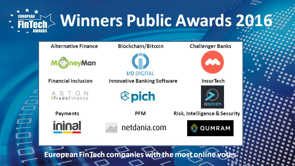 European Fintech Awards and Conference 2016 public awards winners