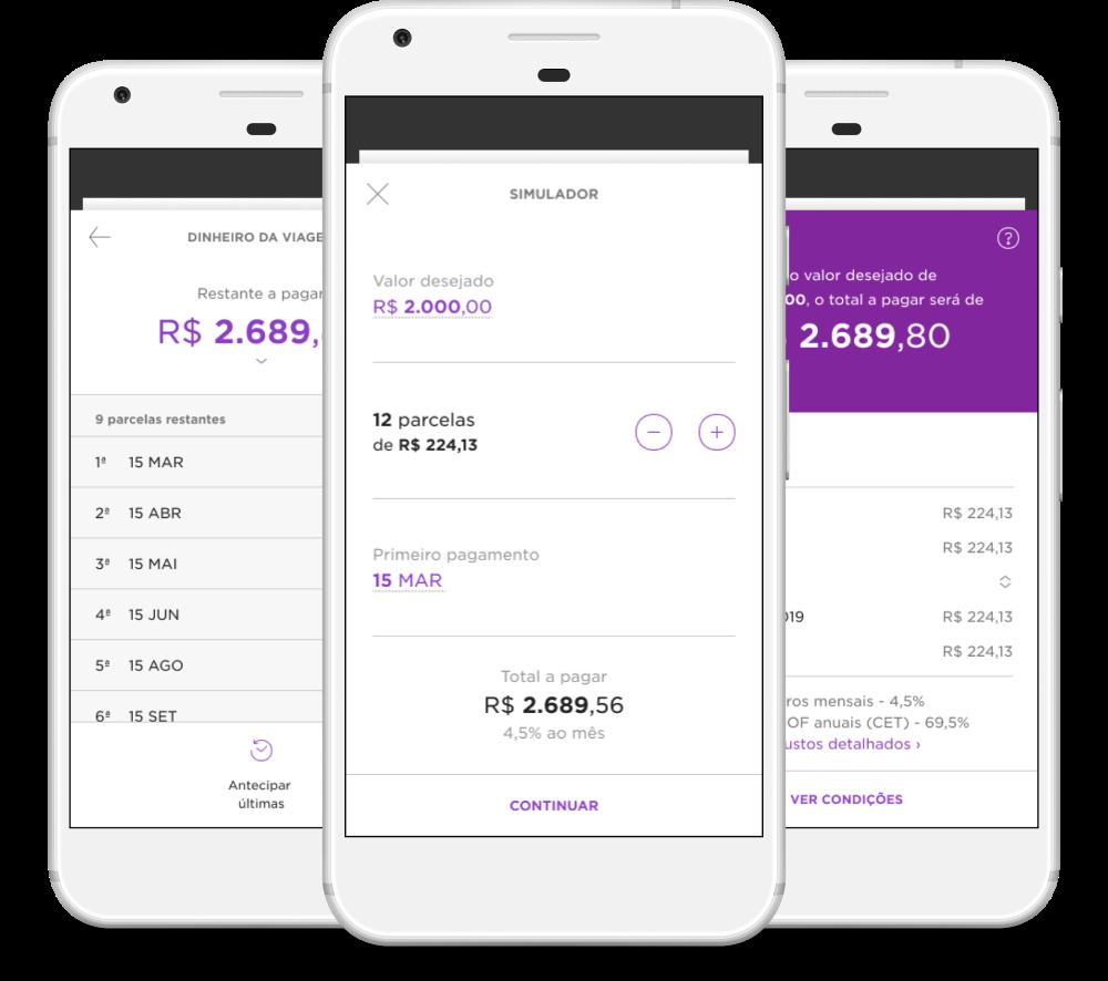 Nubank personal loan main screen, nubank.com.br